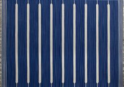 Gulvtæppe dhurries Blue Strips
