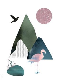 Plakat Mountain Life - Flamingo A3 fra I Love My Type